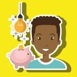 man piggy coin idea Royalty Free Stock Photo