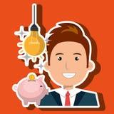 man piggy coin idea Stock Image