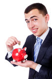 Man with piggybank. Isolated on white Stock Image