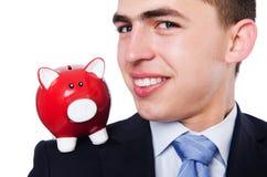 Man with piggybank Stock Images