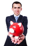 Man with piggybank. Isolated on white Royalty Free Stock Photo