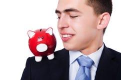 Man with piggybank Stock Photo