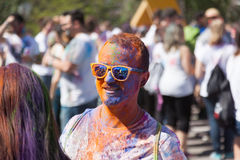 Man in  pigments  at  Festival   Holi Barcelona Stock Photo