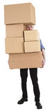 Man and pile carton boxes Royalty Free Stock Images