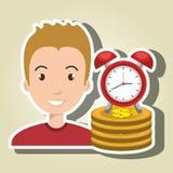 Man pile coin clock Stock Photo