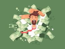 Man in a pile of money Stock Photography
