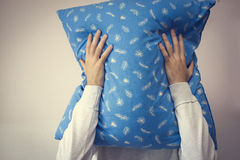 Man pillow  face Royalty Free Stock Image