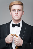 Man in pince-nez Royalty Free Stock Photo