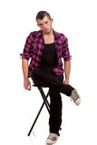 Man in Pink Flannel Stock Images