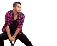 Man in Pink Flannel Stock Photos