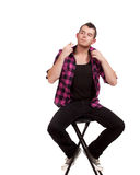 Man in Pink Flannel Stock Photo