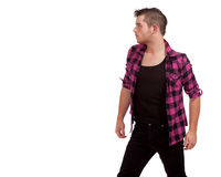 Man in Pink Flannel Stock Image