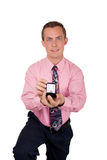 Man in pink proposing Royalty Free Stock Images