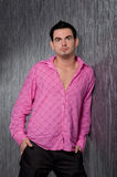 Man in a pink shirt Royalty Free Stock Photo