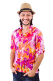 The man in pink shirt and hat isioalted on white Royalty Free Stock Photography