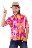 The man in pink shirt and hat isolated on white Royalty Free Stock Photography