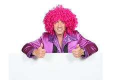 Man with a pink wig Stock Images