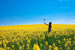 Man with pinwheel standing in a field Royalty Free Stock Images