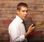 A man with a pipe. Royalty Free Stock Photography