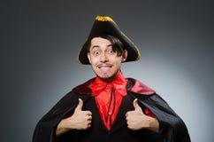 The man pirate against dark background. Man pirate against dark background royalty free stock photography