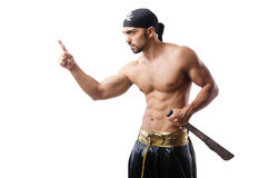 Man in pirate costume. In halloween concept stock image