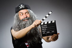 Man in pirate costume  on white Royalty Free Stock Photo