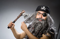 Man in pirate costume  on white Royalty Free Stock Photos