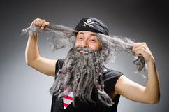 Man in pirate costume  on white Royalty Free Stock Images