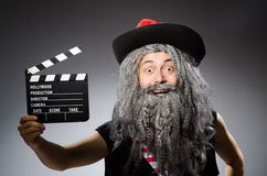 Man in pirate costume  on white Royalty Free Stock Image