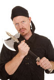 Man pirate hold axe looking Royalty Free Stock Image