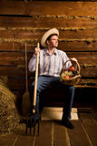 Man with pitchfork,with basket of fruit and in hat Royalty Free Stock Photo