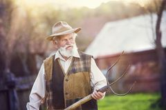 Man with pitchfork Stock Images