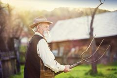 Man with pitchfork Royalty Free Stock Photography