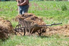 Man with pitchfork and wheelbarrow Royalty Free Stock Photography