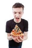 Man with pizza Stock Image