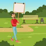 Man with placard claiming his demands in the park, male with picket sign protesting flat vector illustration Stock Image