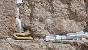 Man Place a Note in the Western Wall in Jerusalem Israel stock video footage