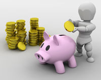 Man placing money in piggy bank. 3d render of a man and piggy bank Royalty Free Stock Photos