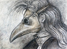 Man in plague mask charcoal drawing Stock Photos