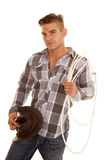 Man plaid shir rope western hat look smile Royalty Free Stock Photo