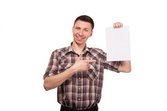 Man in a plaid shirt with blank white board Stock Photography