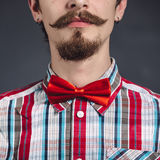 Man in plaid shirt and bow tie Royalty Free Stock Image