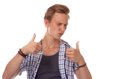 man in a plaid shirt gesturing OK sign Royalty Free Stock Photos