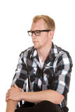 Man in plaid shirt glasses look side Royalty Free Stock Photography