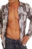 Man  plaid shirt open body hands hips Stock Image