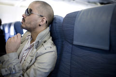 Man on plane Stock Images