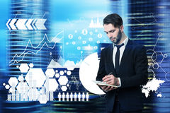 Man with a planner, office, network hologram Stock Image
