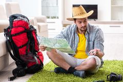 The man planning his travel with map. Man planning his travel with map Stock Image