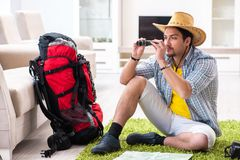 The man planning his travel with map. Man planning his travel with map Royalty Free Stock Photo
