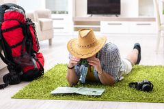 The man planning his travel with map. Man planning his travel with map Royalty Free Stock Images